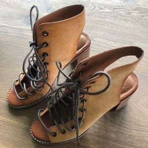 Free People x Jeffrey Campbell lace up booties